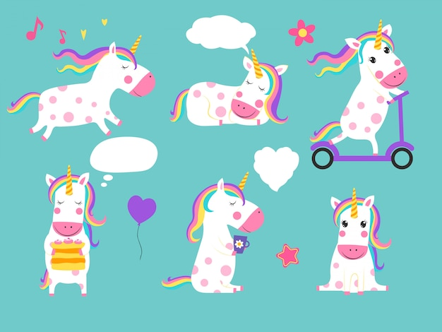 Lindos unicornios de conjunto, personajes de dibujos animados aislados
