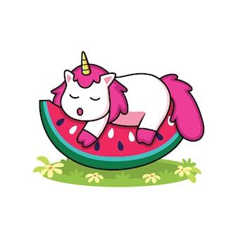 Lindos unicornios con dibujos animados de sandía