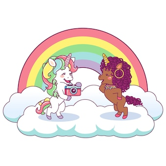Lindos unicornios divirtiéndose haciendo fotos juntos