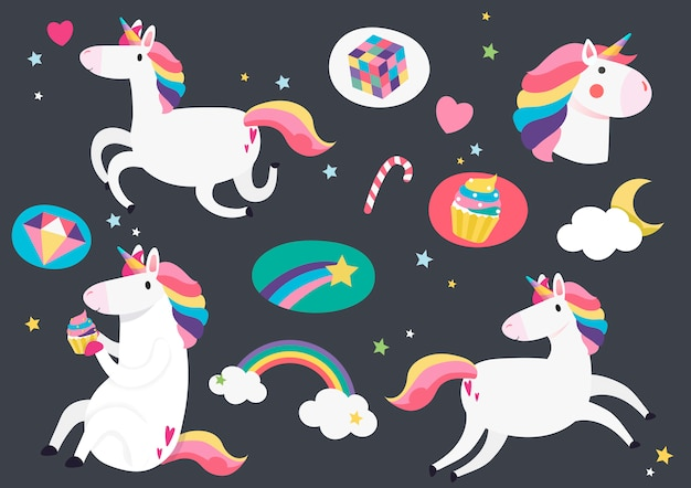 Lindos unicornios con el elemento mágico pegatinas vector