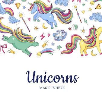 Lindos unicornios mágicos dibujados a mano y estrellas