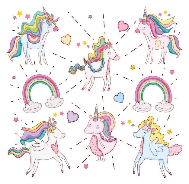 Lindos unicornios con nubes de arcoiris y corazones