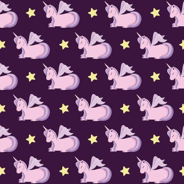 Lindos unicornios de patrón de cuento de hadas.
