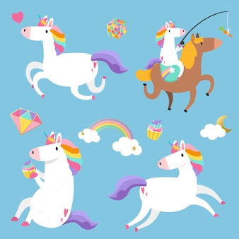 Lindos unicornios con vector de elementos mágicos