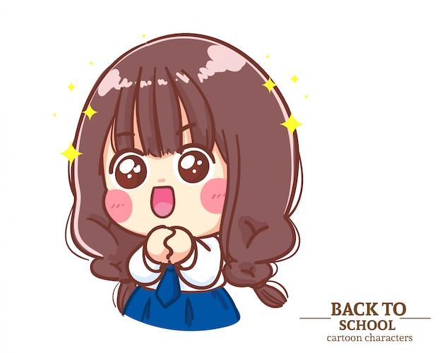Lindos uniformes de estudiantes para niñas. contento y esperanzado de regreso a la escuela. ilustración de dibujos animados vector premium