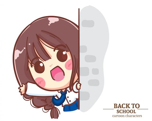 Lindos uniformes de estudiantes de niñas salieron de la pared y saludaron con las manos de regreso a la escuela. ilustración de dibujos animados vector premium