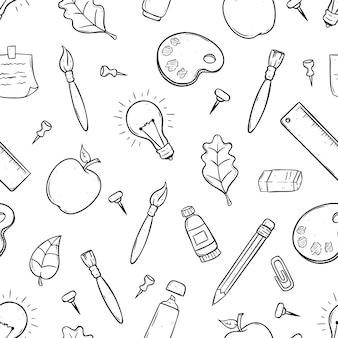 Lindos útiles escolares o artículos en patrones sin fisuras con doodle art