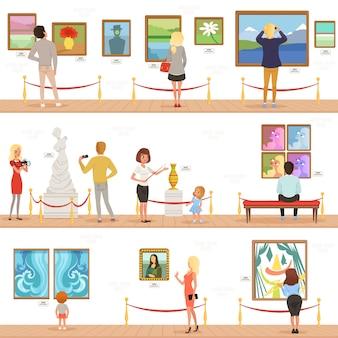 Lindos visitantes de dibujos animados y personajes guía en el museo de arte. la gente admira pinturas y esculturas en la galería.