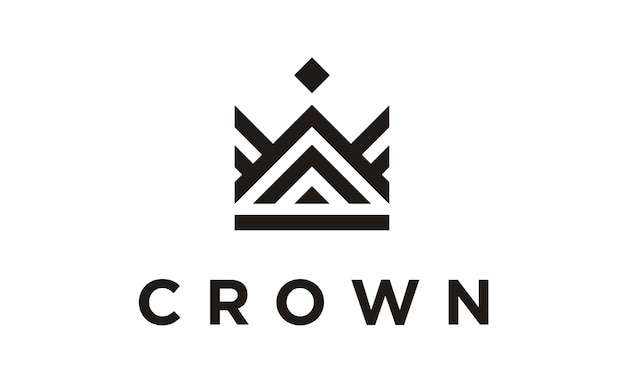Line art crown / royal diseño de logotipo