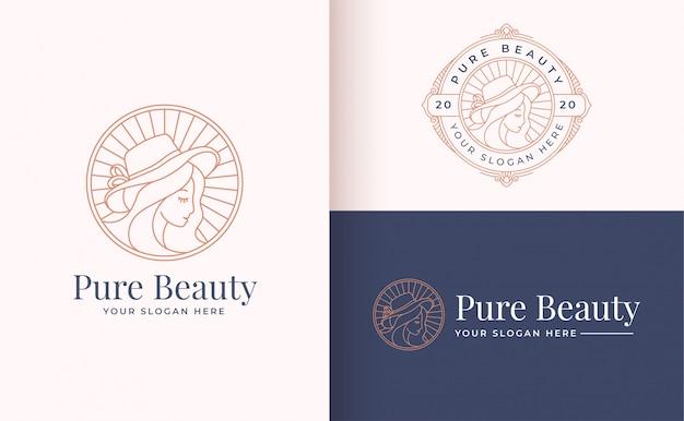 Line art floral women logo design