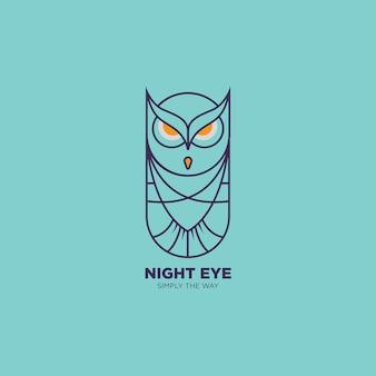 Line art owl logo ilustración