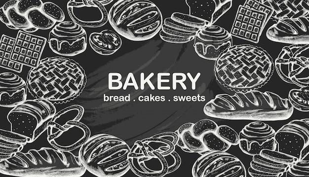Line art set de productos de panadería que incluye varios tipos de pan y pasteles