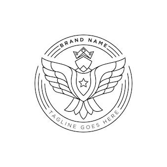 Line art strong eagle logo para tu marca