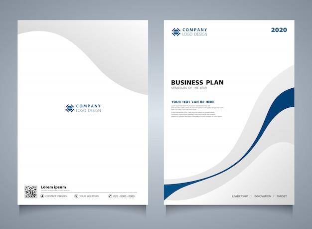 Línea abstracta azul plantilla de folleto moderno color.