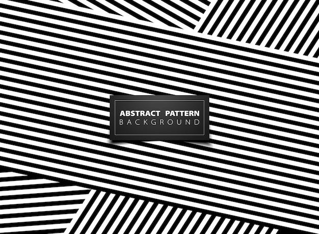 Línea abstracta blanco y negro op art diseño de patrón de raya línea.
