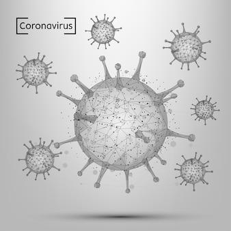 Línea abstracta y célula de coronavirus puntual. inmunología de baja poli, nueva epidemia de cepas, ilustración de patógeno de infección