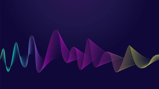 Línea abstracta colorida de la curva en fondo oscuro. ideal para pantalla web.
