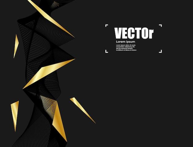 Línea abstracta diseño gráfico del concepto del fondo negro del oro.