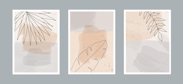 Línea abstracta moderna deja en líneas y fondo artístico con diferentes formas para decoración de paredes