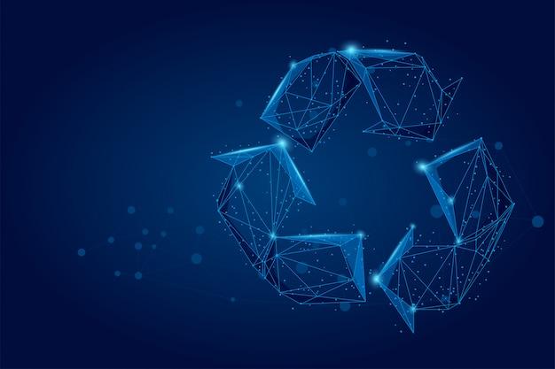 Línea abstracta de puré y señal de reciclaje de bajo poli, ahorre ecología mundial
