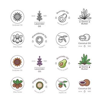 Línea de aceites cosméticos y cosméticos orgánicos para el cuidado de la piel y coloridos emblemas y logotipos