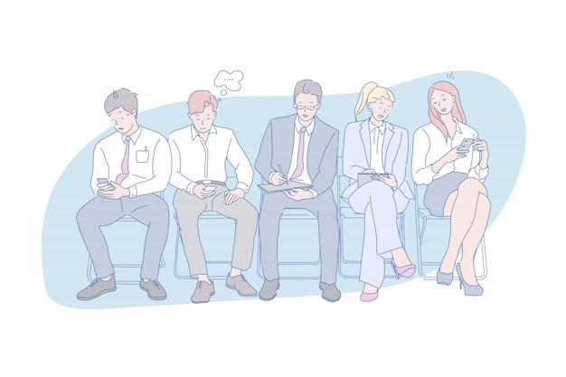 En línea, adicción a los gadgets, redes sociales, juventud, ilustración.