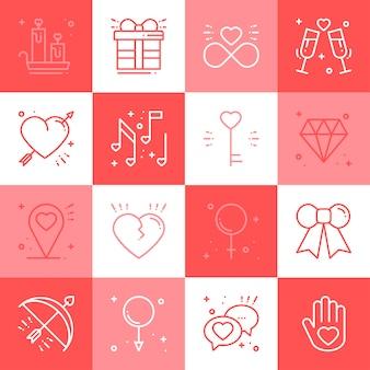 Línea de amor iconos conjunto.