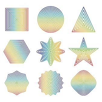 Línea del arco iris en elemento de forma geométrica