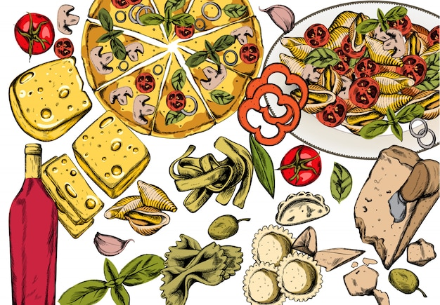 Línea arte composición de comida italiana con deliciosa pizza, pasta con tomate, queso y vino tinto.