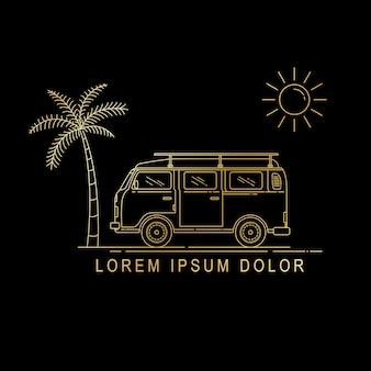 Línea arte diseño de furgoneta