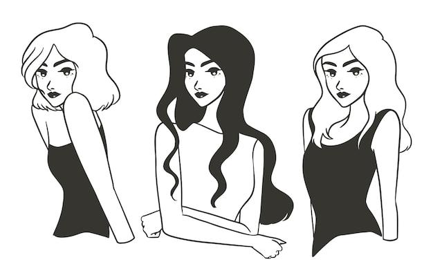 Línea arte elegante elegante mujer hermosa en blanco y negro