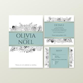 Línea arte flor tropical para boda tarjeta de invitación