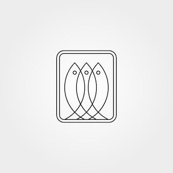 Línea arte tres peces logotipo abstracto símbolo ilustración vectorial diseño