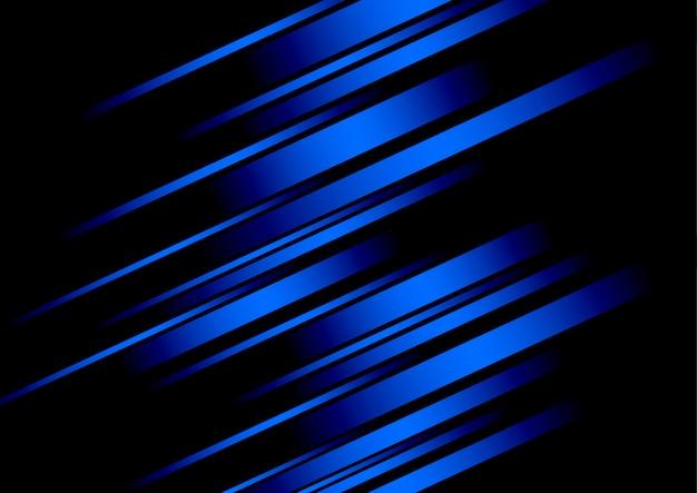 Línea azul abstracta y fondo negro para tarjeta de visita