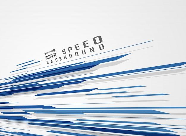 Línea azul tecnología patrón de fondo futurista de velocidad.