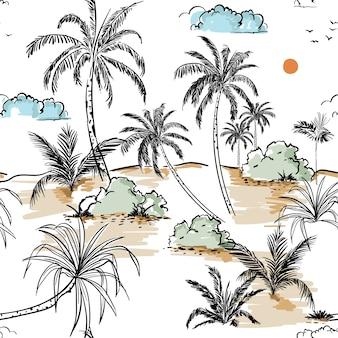Línea de boceto de dibujo a mano de isla y palmeras en transparente