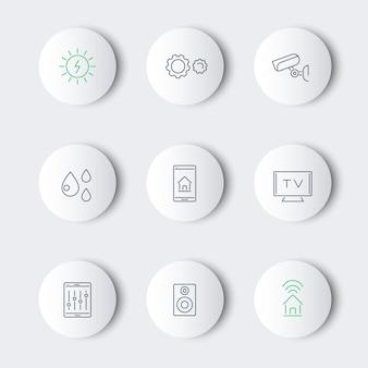 Línea de casa inteligente redonda iconos modernos
