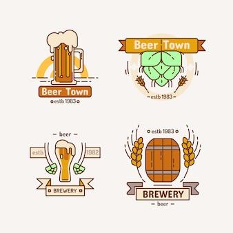 Línea cervecería logo set.