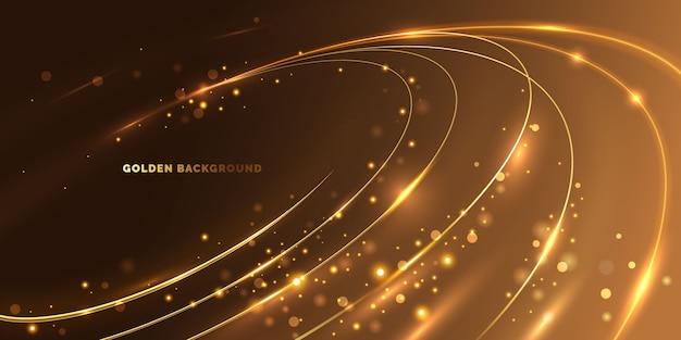 Línea circular de luz dorada
