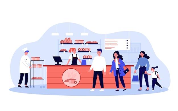Línea de clientes en panadería. personas comprando panes recién horneados en la panadería. ilustración para alimentos, comer, concepto de negocio