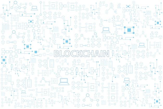 Línea colorida de la tecnología de blockchain ilustración redonda del vector en el fondo blanco