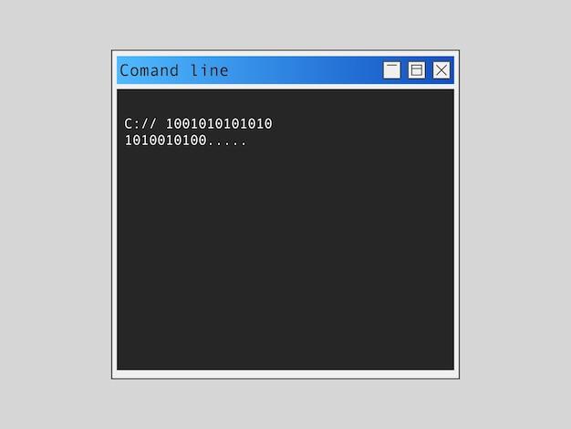 Línea de comando. administración de datos de software y programación en línea en el proceso de codificación de la configuración de la aplicación en ejecución y depuración de trabajo manual de la aplicación.