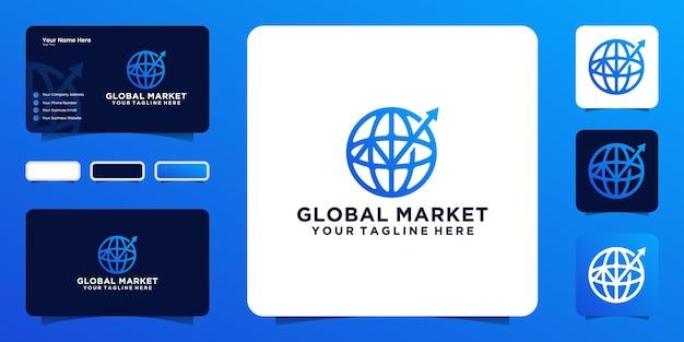 Línea de comercio mundial con flechas y tarjetas de visita.
