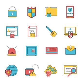 Línea de conjunto de iconos de seguridad informática