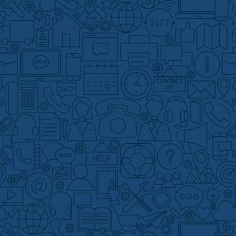Línea contáctenos de patrones sin fisuras. ilustración de vector de fondo de azulejo de contorno. comunicacion de negocios.
