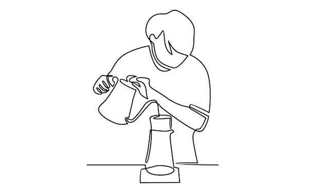 Línea continua de barista vertiendo café ilustración