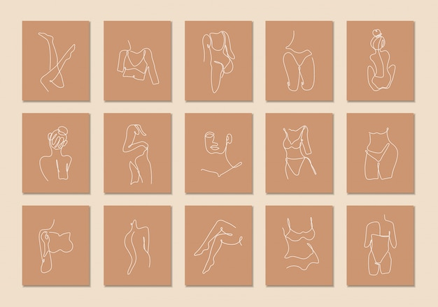 Una línea continua de conjunto de cuerpo sexy, arte de dibujo de una sola línea, cuerpo de mujer aislado, diseño de arte simple, línea abstracta, silueta para marco