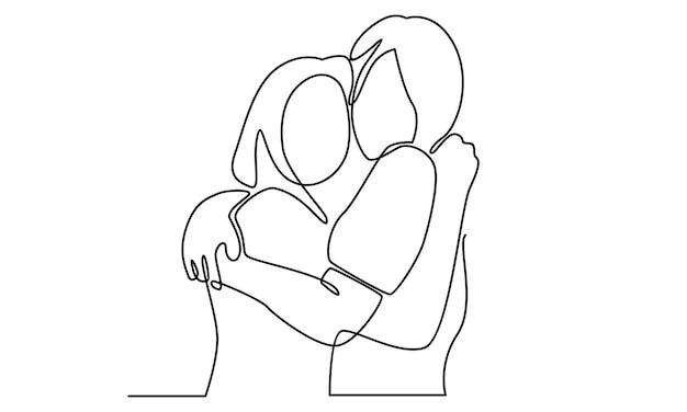 Línea continua de dos chicas encantadoras mejores amigas felices abrazando la ilustración