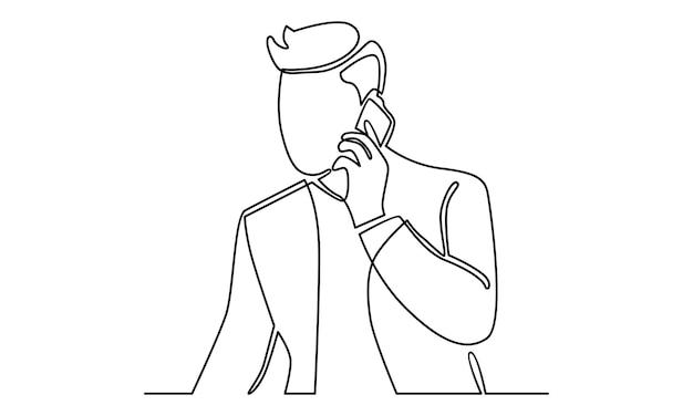 Línea continua del empresario hablando con la ilustración del teléfono