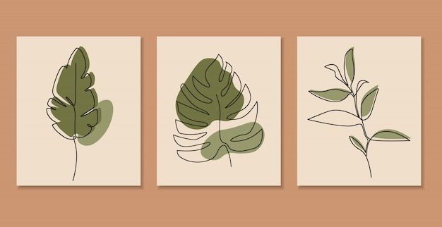 Una línea continua de hojas, arte de dibujo de una sola línea, hojas tropicales, conjunto de plantas botánicas